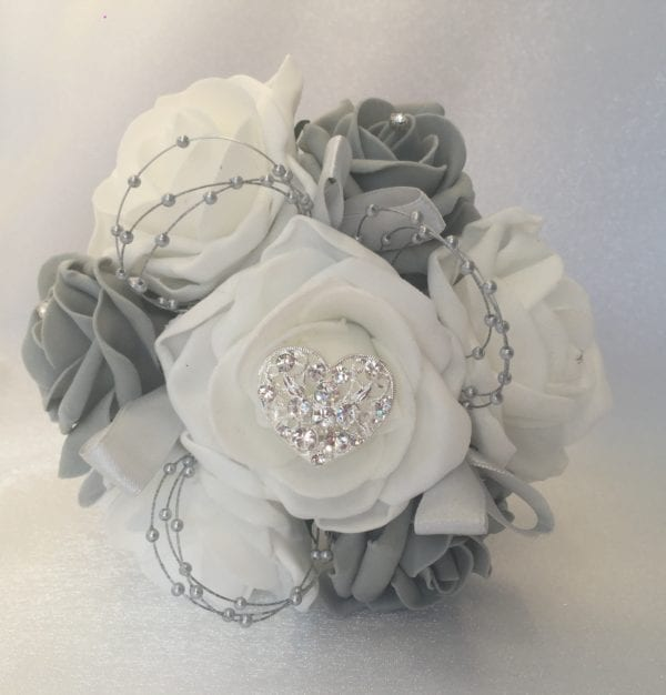 small grey heart bouquet