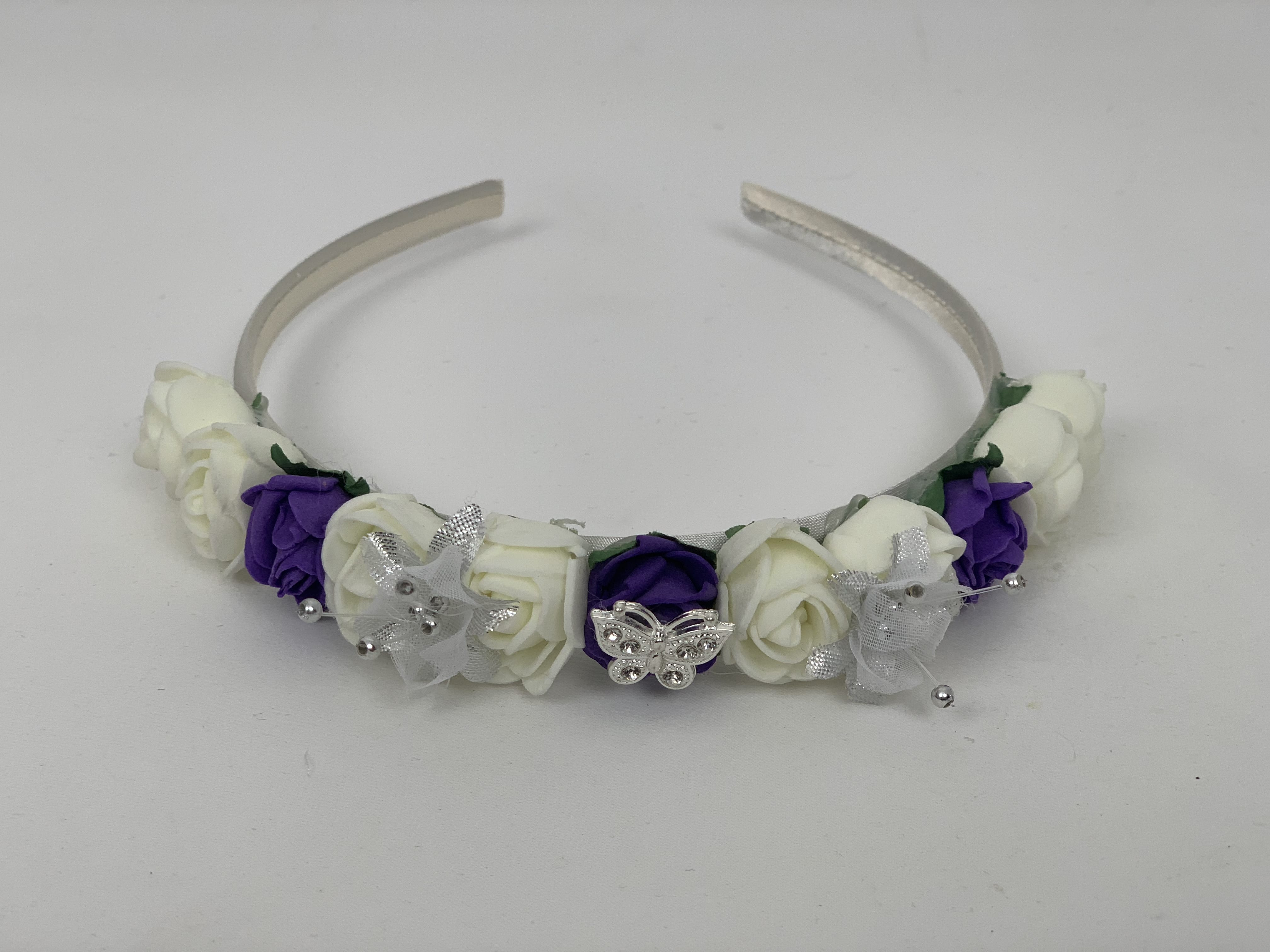 White Satin Alice Band Hairband Purple Diamanté Flowers Bridesmaid Flower Girl