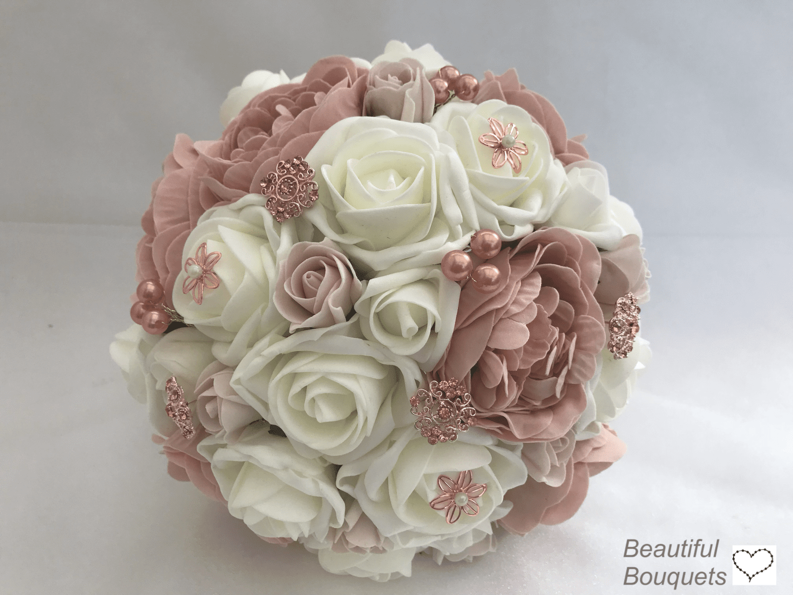 artificial brides bouquet bridal posy peonies rose gold