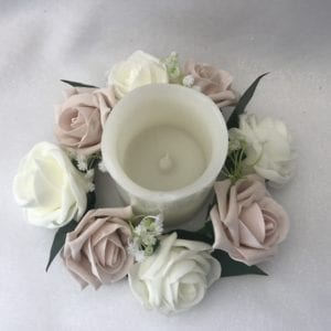 candle ring with gypsophila