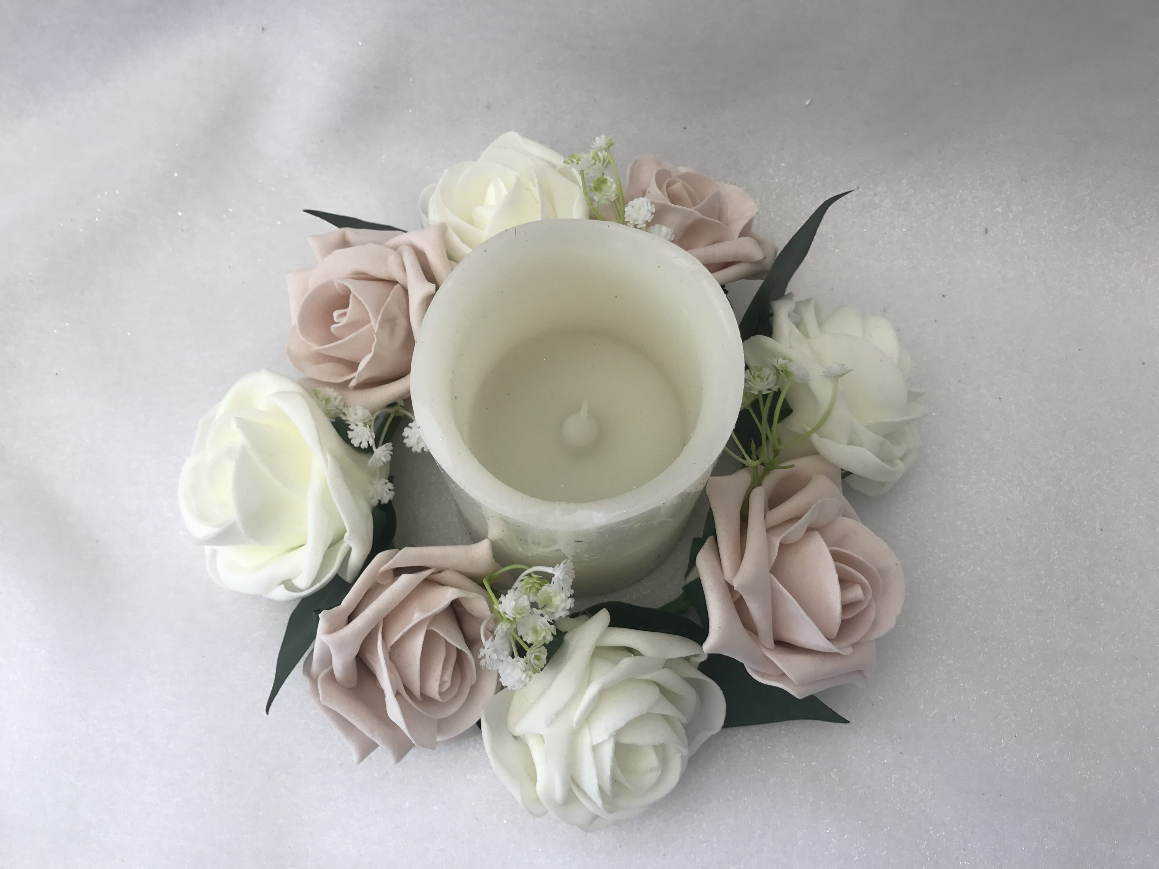 Artificial Wedding Flowers Table Decoration Candle Ring Gypsophila