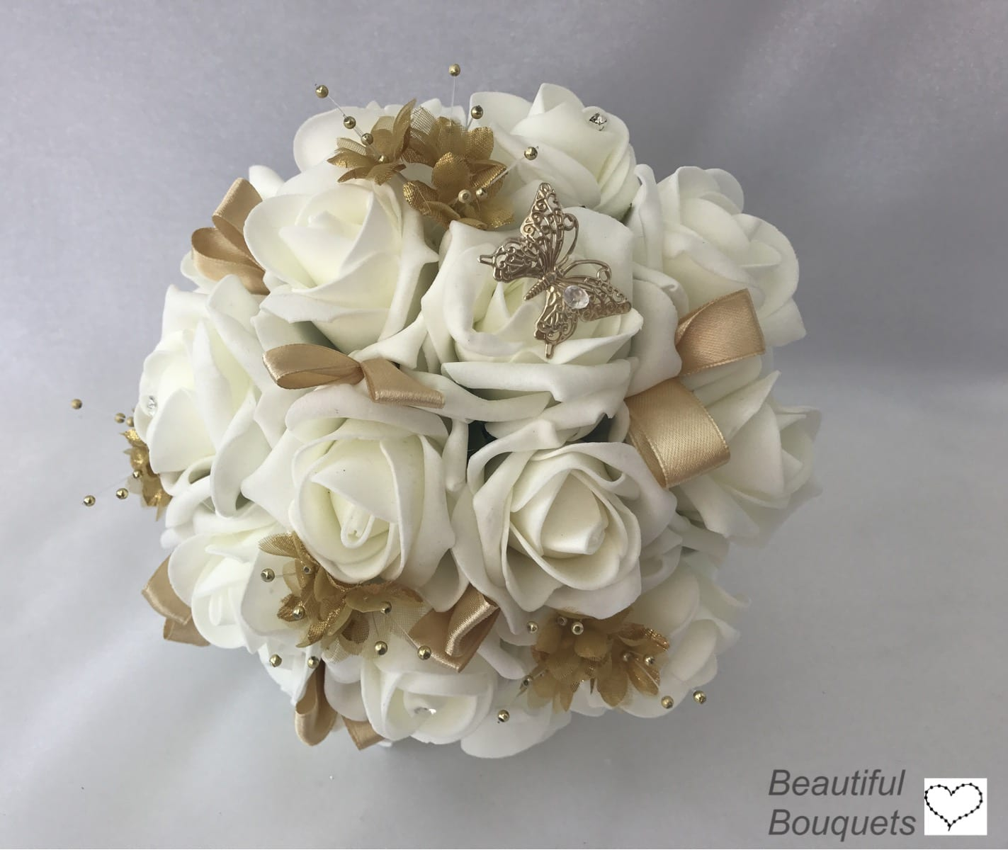 White And Gold Wedding Flowers: Medium Artificial Wedding Flowers Bridesmaid Bouquet Posy