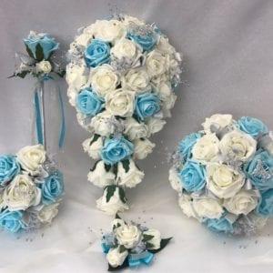 Artificial Wedding Bouquets- Aqua