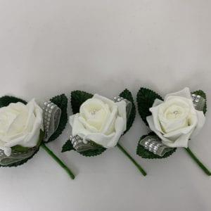 3 x Diamante Ribbon Buttonholes