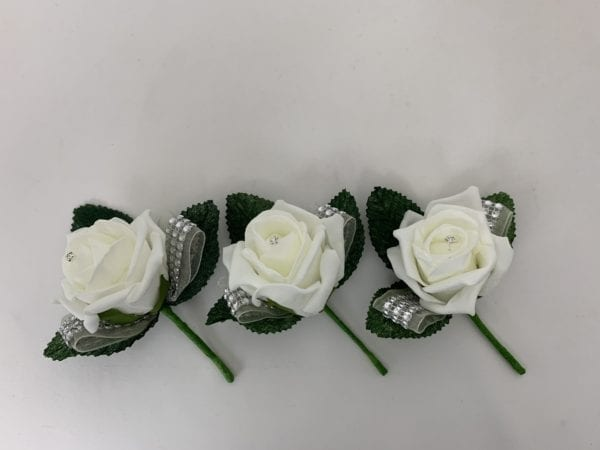 3 x Diamante Ribbon Buttonholes