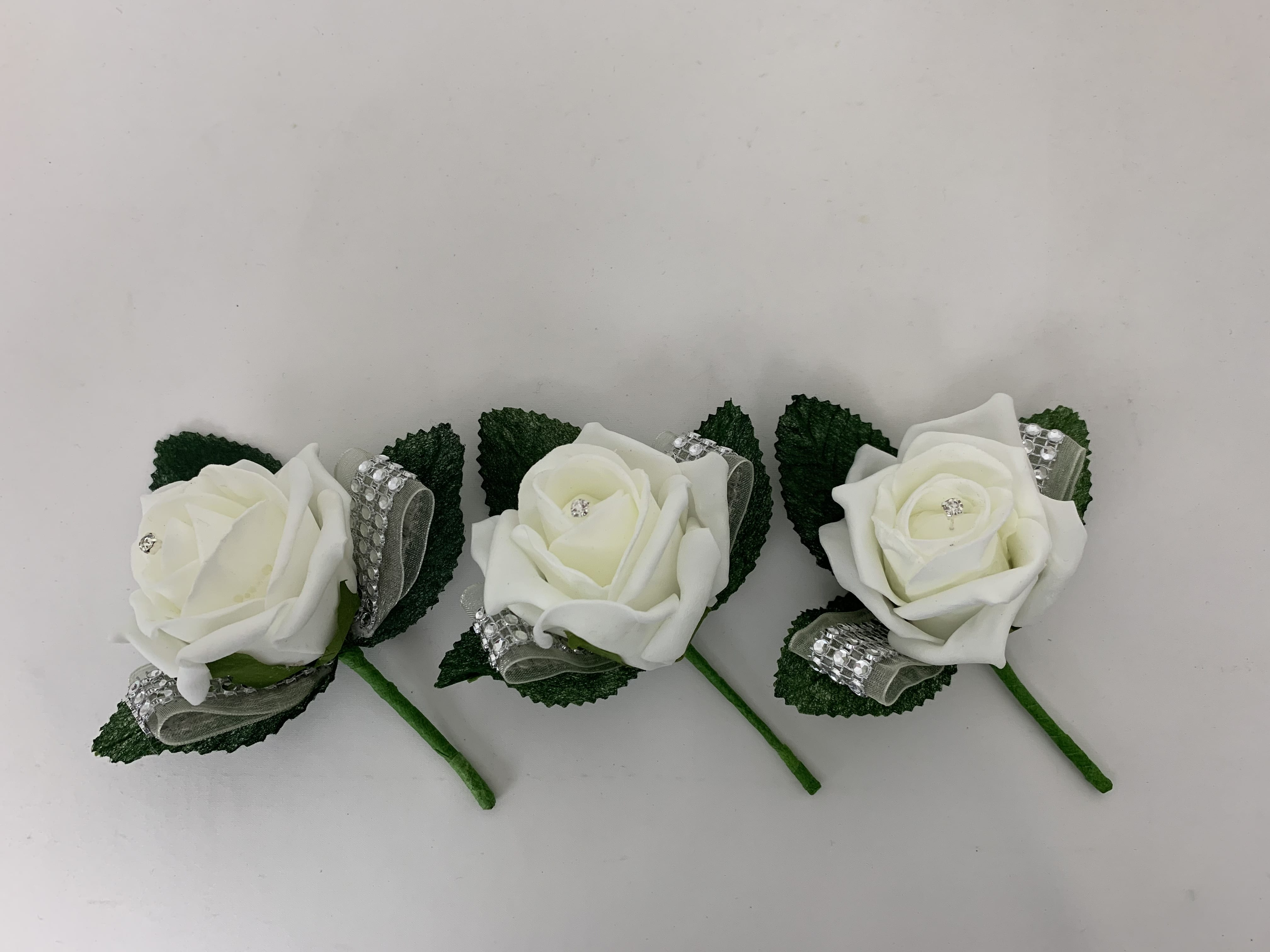 Wrist Corsage//Buttonhole package//silver Prom //Wedding white  artificial  Rose
