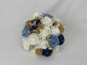 bridesmaid posy navy light blue