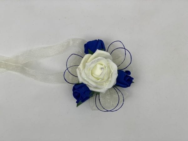 royal blue wrist corsage