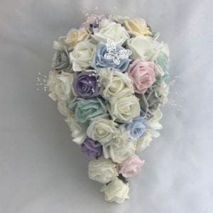 Artificial Wedding Flowers Brides Teardrop Bouquet Butterfly Pastels