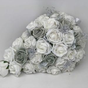 Artificial Wedding Flowers Brides Teardrop Bouquet Grey Butterfly