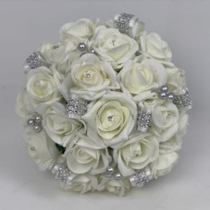 Artificial Wedding Flowers Brides Posy Ivory Diamante Ribbons