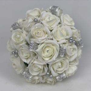 Artificial Wedding Flowers Brides Posy Ivory Diamante Ribbons