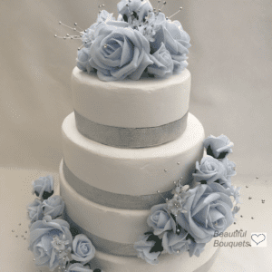 Artificial Wedding Flowers Cake Topper 3 piece Blue