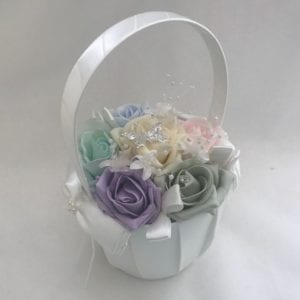 Artificial Wedding Flowers Flower Girl Basket Pastels