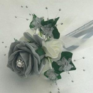 Artificial Wedding Flowers Flower Girl Wand Grey