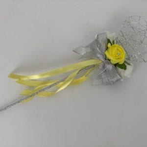 Artificial Wedding Flowers Flower Girl Wand Heart Yellow