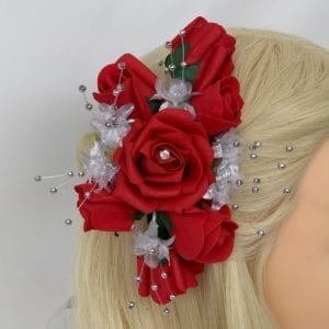 Artificial Wedding Flowers Luxury Bridal Hair Comb Red