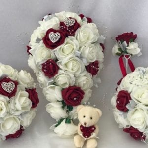 Artificial Wedding Flowers Package Brooches Red