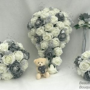 Artificial Wedding Flowers Package Grey Silver Flowers