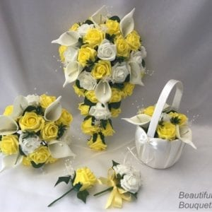 Artificial Wedding Flowers Package Calla Lillies Roses Yellow