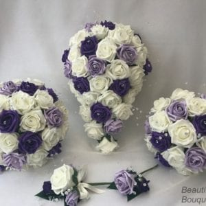Artificial Wedding Flowers Package Puple Crystal Sprays 3 colours
