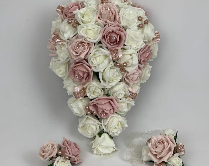 Artificial Wedding Flowers Package Rose Gold Beautiful Bouquets
