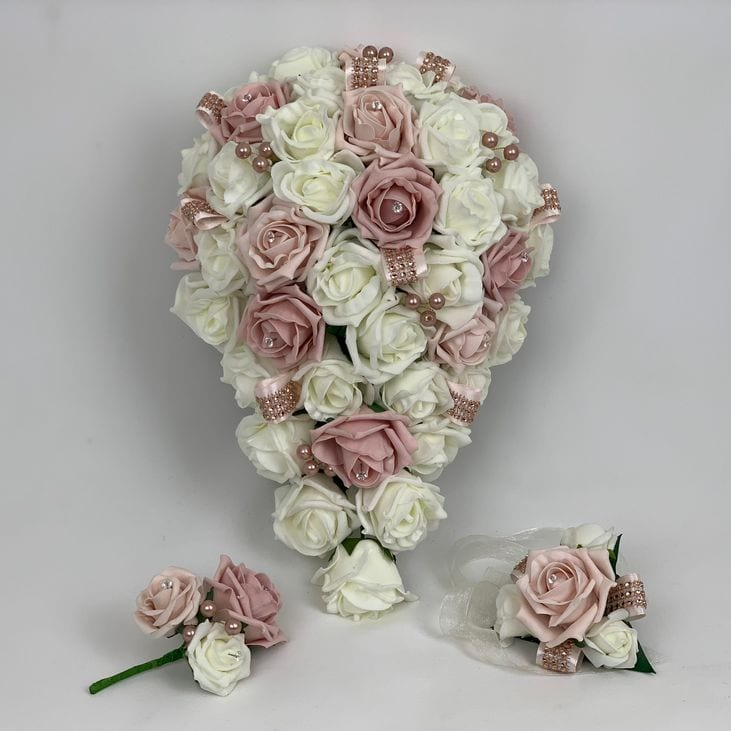 Artificial Wedding Flowers Package Rose Gold Pearls