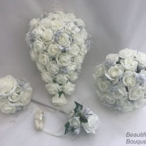 Artificial Wedding Flowers Package Silver Sprays Butterfly Ivory