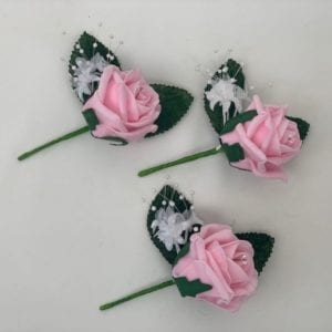 Artificial Wedding Flowers Single Buttonhole Pink