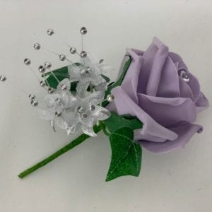 Artificial Wedding Flowers Single Buttonhole Purple