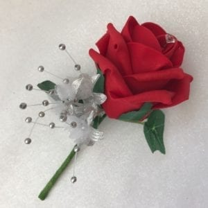 Artificial Wedding Flowers Single Buttonhole Red