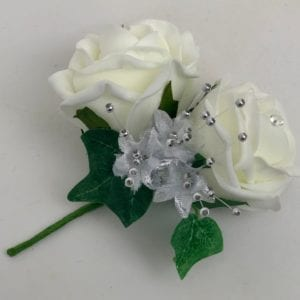 Artificiao Wedding Flowers Double Buttonhole Corsage Ivory