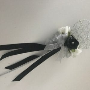 Black Artificial Wedding Flowers silver heart flower girl wand