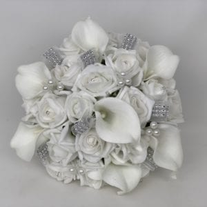 Artificial wedding bouquet brides posy with Lillies
