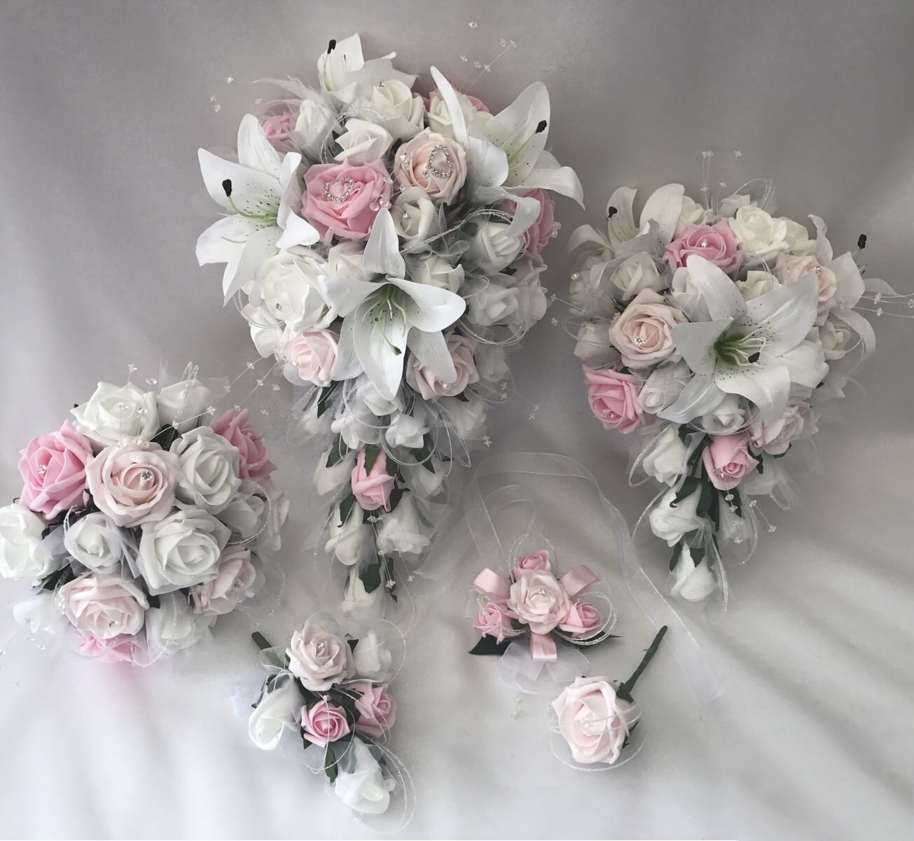 Wedding Flower Packages Cheap: Artificial Wedding Flowers Package Star Lillies Roses (3