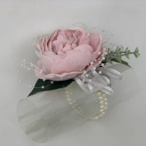 artificial wedding flowers - wrist corsage on bracelet