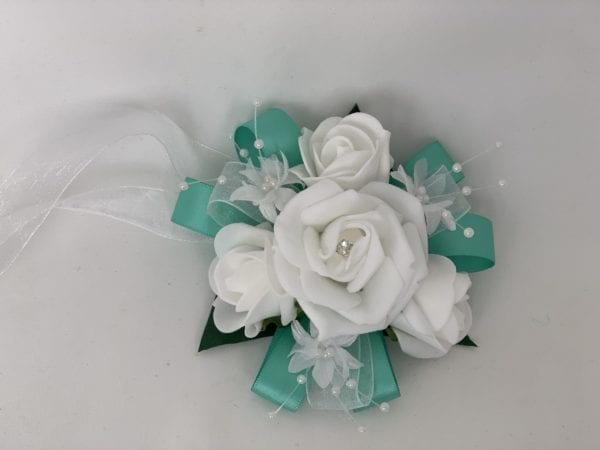 wedding wrist corsage Tiffany blue