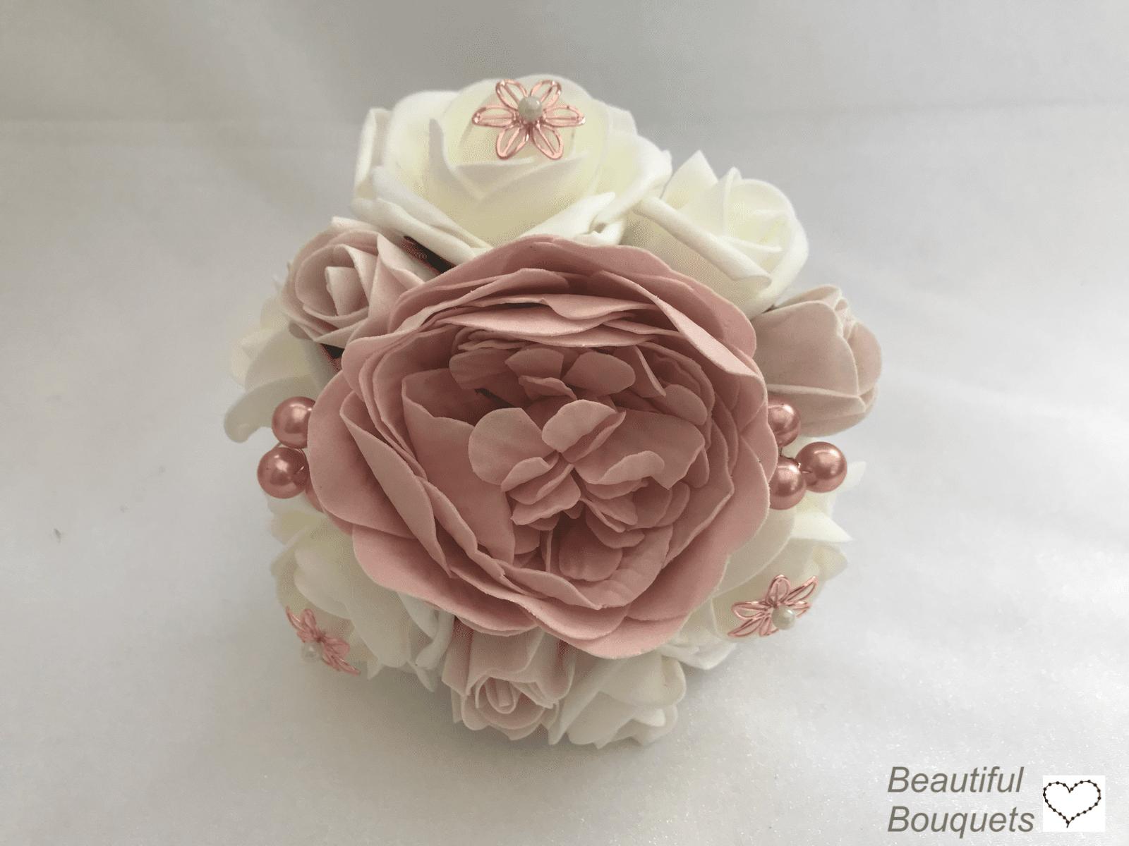 Artificial Small Bridesmaid Bouquet Bridal Posy Peonies