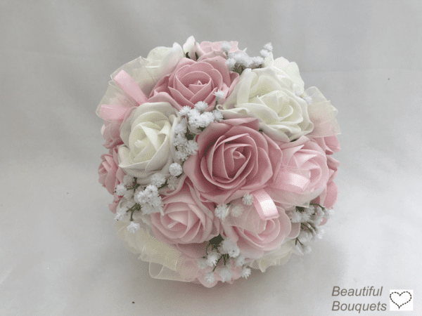 roses and gyp bridesmaid bouquet