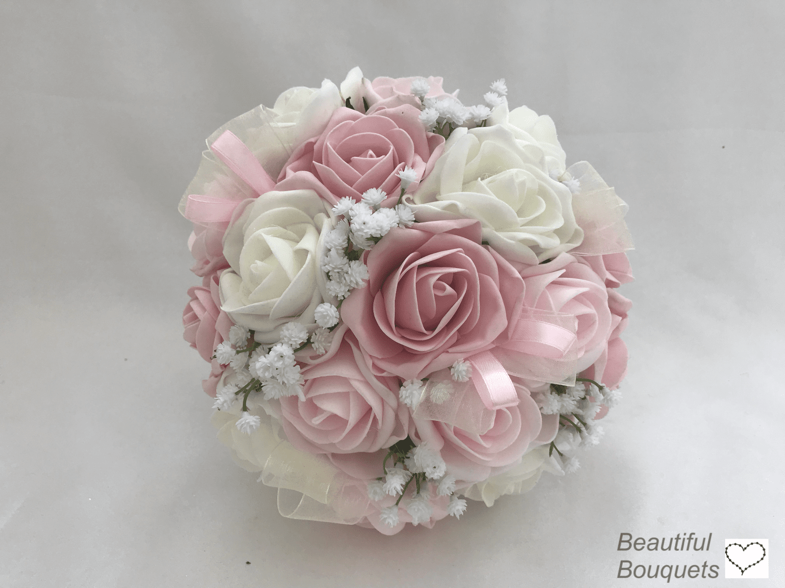 Bridesmaid Wedding Bouquets Artificial Flowers Bride Rose Posy in Hot Pink