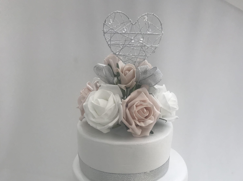 Artificial Wedding Cake Topper Heart Beautiful Bouquets