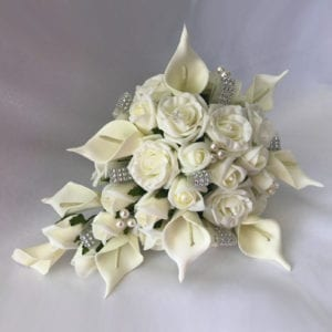 Artificial Bridal Teardrop Brides Bouquet Calla Lilles
