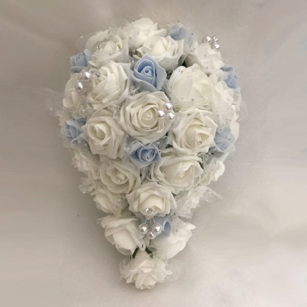Artificial Bridal Teardrop Brides Bouquet Netted Glittered Roses