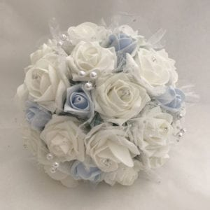 Artificial wedding flowers brides Bouquet Posy and Netted Roses