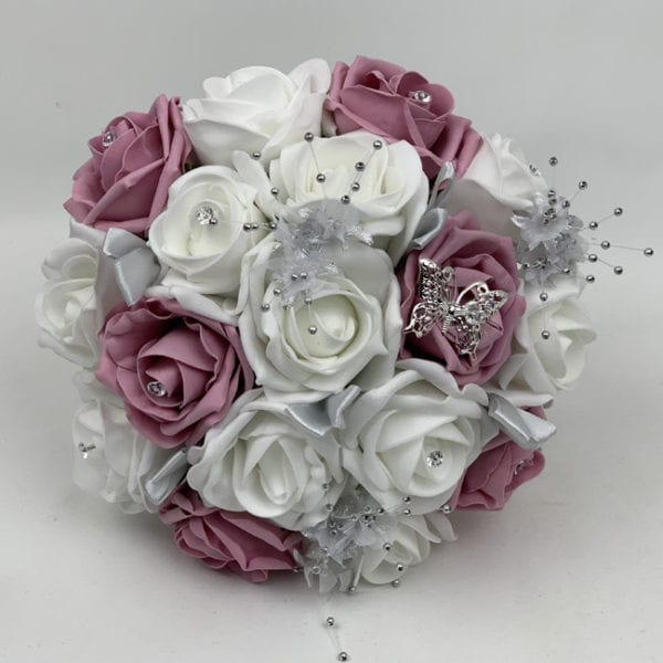 Artificial Bridesmaid Bouquet Posy - Silver Flower Sprays