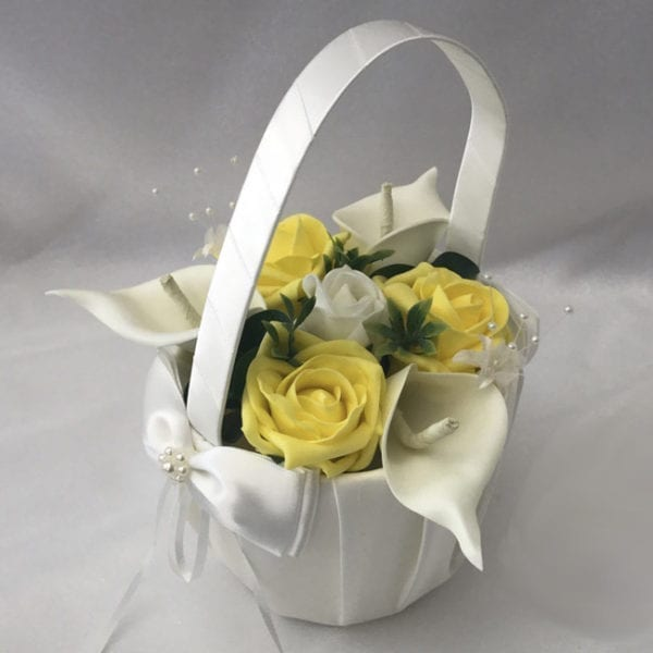 Artificial Wedding Flowers Flower Girl Basket Calla Lillies and Roses