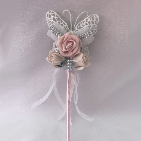 Artificial Bridesmaid Flower Girl Wand Ivory Butterfly