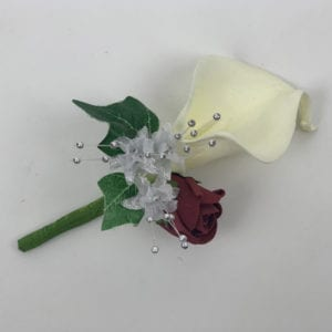 Artificial Double Buttonhole Wedding Corsage - Calla Lily & Rose