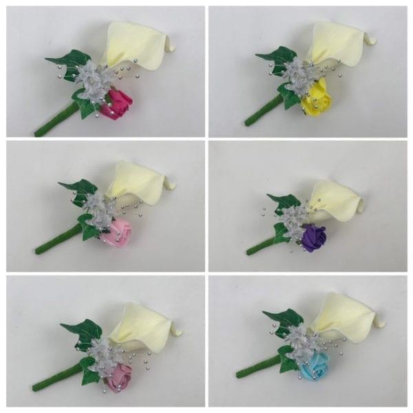 Artificial Double Buttonhole Wedding Corsage - Calla Lily & Rose