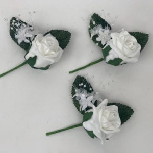 Artificial Buttonhole Wedding Corsage - 6 Roses